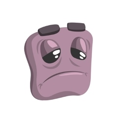 Bored Grey Emoji Cartoon Square Funny Emotional vector image