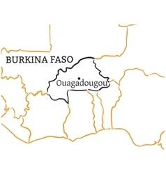 Burkina Faso hand-drawn sketch map vector image