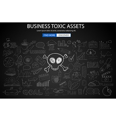Business toxic assets concept with doodle design vector