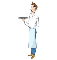 cartoon image of waiter vector image vector image