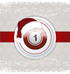Christmas background with bingo ball and Santa hat vector image