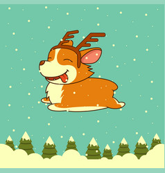 Christmas dog on winter forest background vector