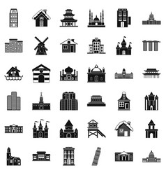 City building icons set simple style vector