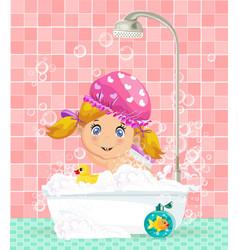 cute cartoon blonde baby girl taking a bubble bath vector image
