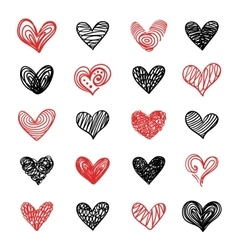 Doodle Hand Drawn Valentine Hearts Set vector image vector image