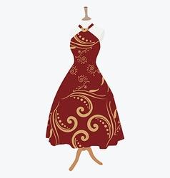 Elegant red dress vector image vector image