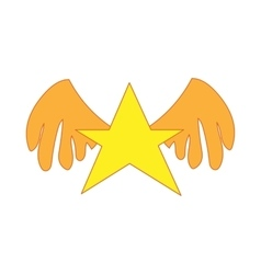 Gold star with wings icon cartoon style vector image
