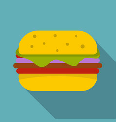Hamburger with cheese and meat patty icon vector