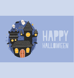 happy halloween horizontal holiday banner with vector image vector image