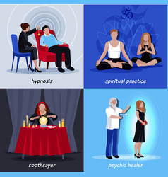 hypnotism extrasensory icon set vector image vector image