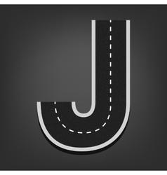 J letter road font vector