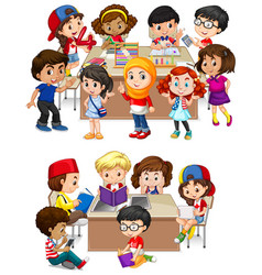 Kids learning at school vector