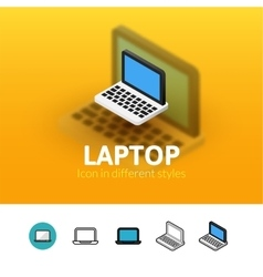 Laptop icon in different style vector image