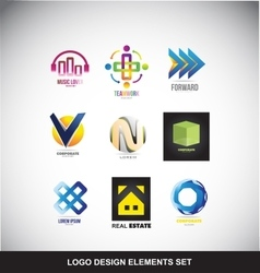 Logo design elements set icon vector