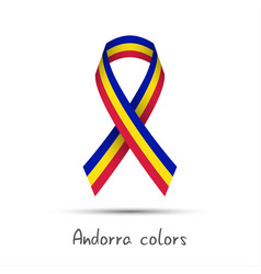 Modern colored ribbon andorra tricolor vector