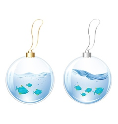 New Year Balls With Blue Fishes In Water vector image vector image
