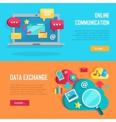 Online communication and data exchange banners vector