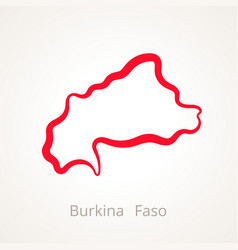 Outline map of burkina faso marked with red line vector