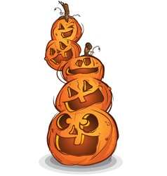 Pile of halloween pumpkin cartoon characters vector