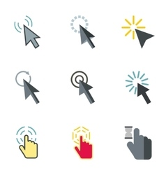 Pointer of computer icons set flat style vector image vector image