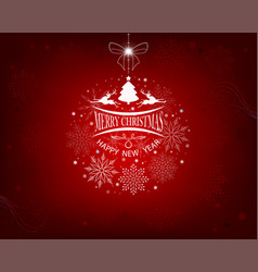 red background with snowflakes and deer vector image vector image