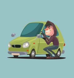 Robber man character steals and breaking car door vector