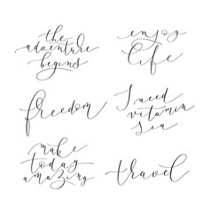 Set of 6 hand written lettering positive quotes vector