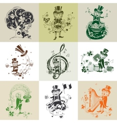 Set of nine for St Patricks Day vector image vector image