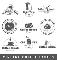 Set of vintage coffee labels vector image vector image