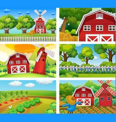 six different scenes of farm vector image vector image