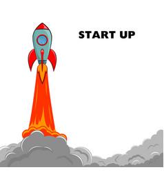 Start up rocket ship vector
