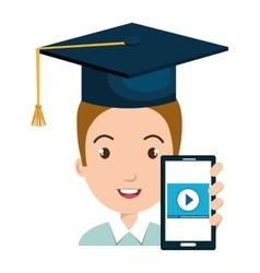 Student character with hat graduation and vector