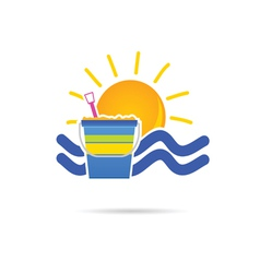 Sun icon with beach basket color vector