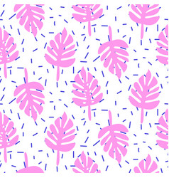 Tropic palm monstera pink leaves seamless pattern vector