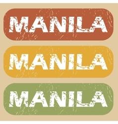 Vintage manila stamp set vector
