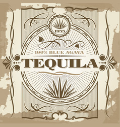vintage tequila poster design vector image vector image