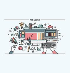 web development line art banner site with vector image