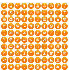 100 joy icons set orange vector