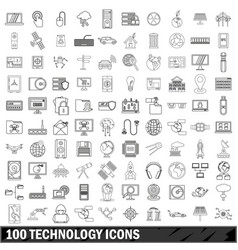 100 technology icons set outline style vector