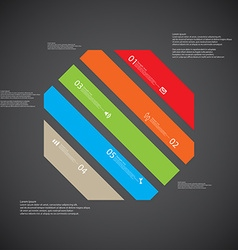 Octagon template consists of five color parts on vector