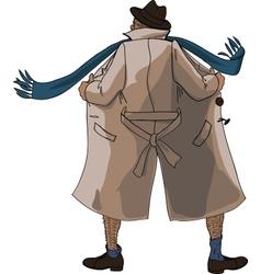Flasher unbuttoned coat vector image