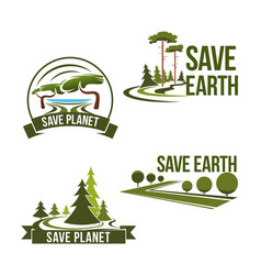 Icons set for save earth ecology protection vector
