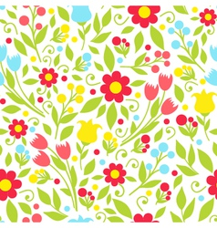 Seamless pattern with spring flowers on a white vector