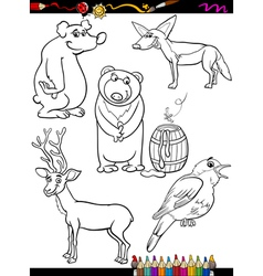 Animals set cartoon coloring page vector