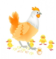 Hen with newborn vector