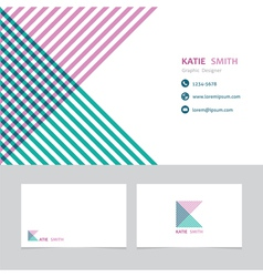 Business card template with a letter k vector