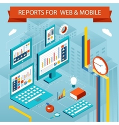 Business charts and reports on web pages mobile vector