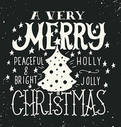 A very merry christmas greeting card vector