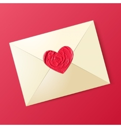 Envelope with sealing wax in the form of heart vector