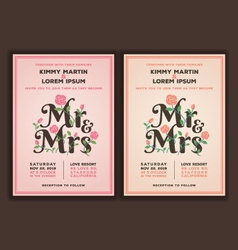 Mr and mrs title with flower wedding invitations vector